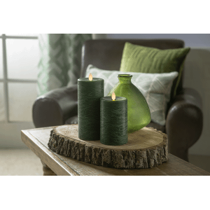 Green LED Textured Wax Pillar Candle