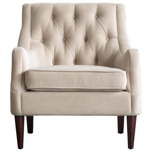 Marlene KD Velvet Fabric Tufted Accent Arm Chair, Buckwheat Beige