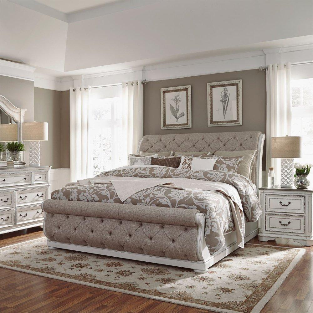 Queen Uph Sleigh Bed, Dresser & Mirror, Night Stand