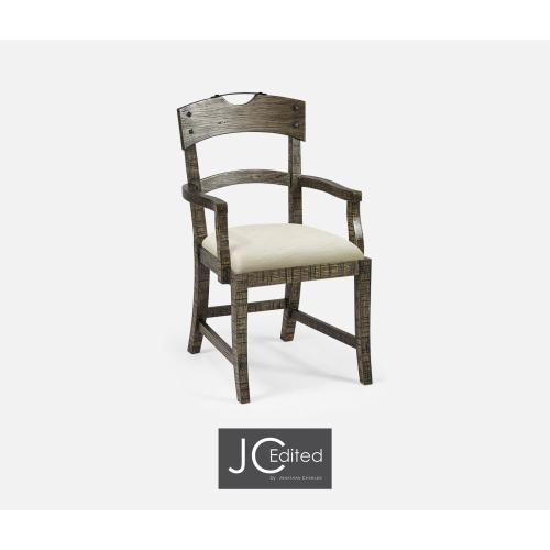 Planked Dark Driftwood Dining Armchair, Upholstered in Castaway