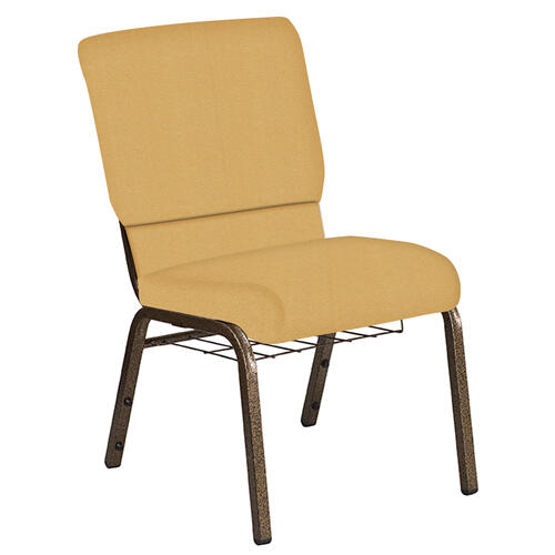 Flash Furniture - 18.5''W Church Chair in Fiji Sunshine Fabric with Book Rack - Gold Vein Frame