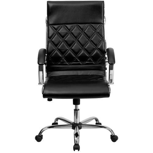 Gallery - High Back Designer Quilted Black LeatherSoft Executive Swivel Office Chair with Chrome Base and Arms