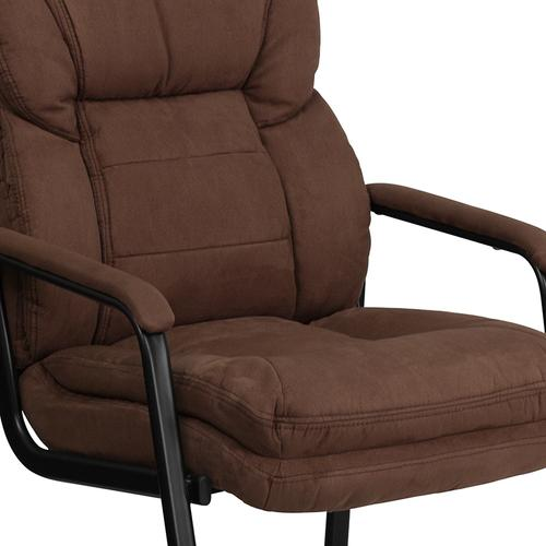 Gallery - Brown Microfiber Executive Side Reception Chair with Lumbar Support and Sled Base