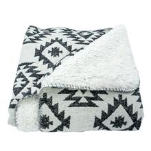 Southwest Design Throw With Shearling Back (black), 50x60