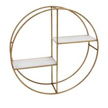 """View Product - Metal/wood 24"""" Round Shelf, White/gold"""