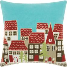 "Home for the Holiday St116 Multicolor 18"" X 18"" Throw Pillow"