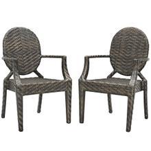 Casper Outdoor Patio Dining Armchair Set of 2 in Brown
