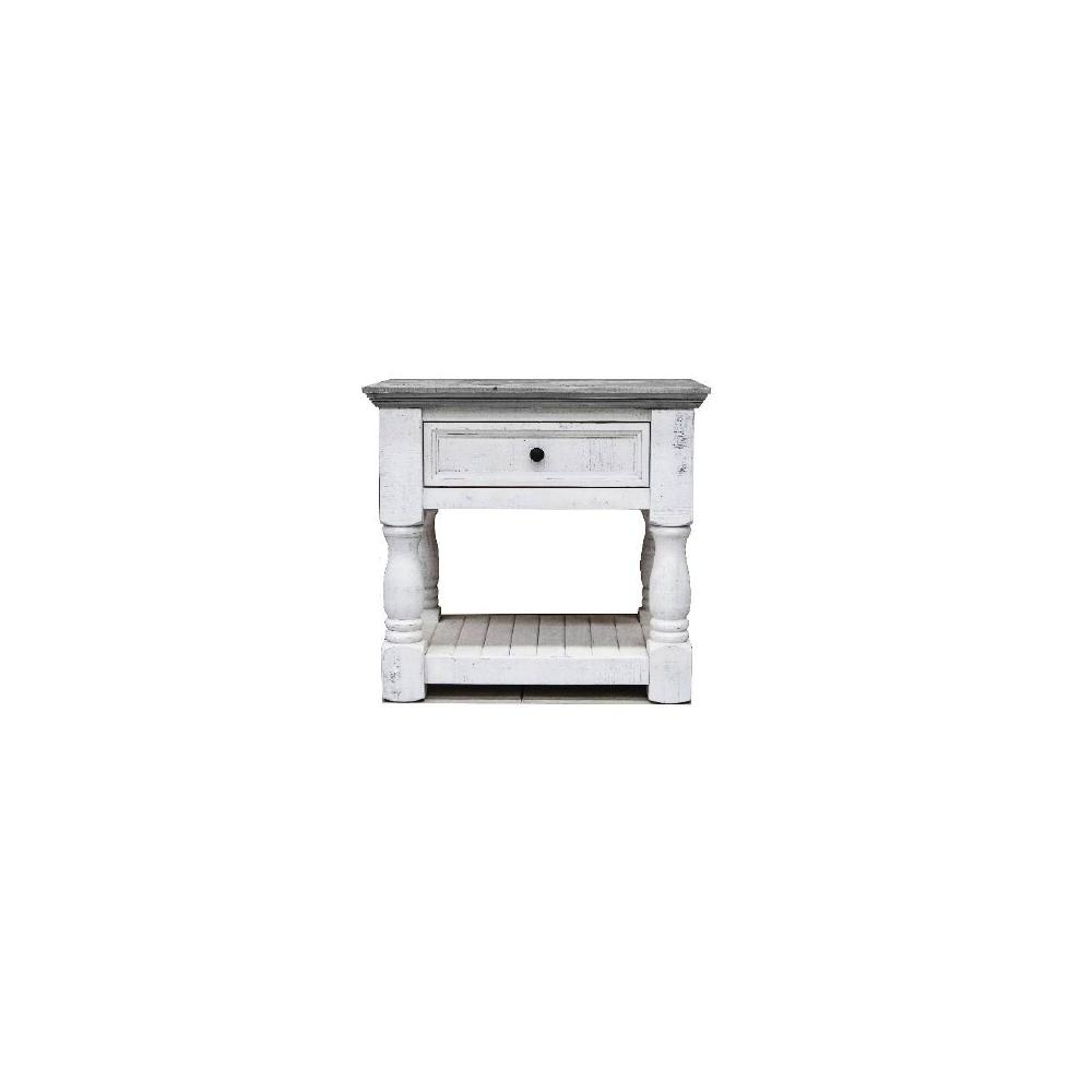 Factory 7 Crown 1-Drawer Nightstand with Turned Legs