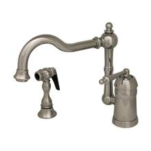 Legacyhaus single-lever handle faucet with a traditional swivel spout and a solid brass side spray.