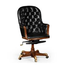Buttoned black leather desk chair high back