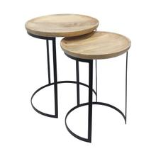 "S/2 Metal/wood 21/23"" Side Tables, Natural/black"