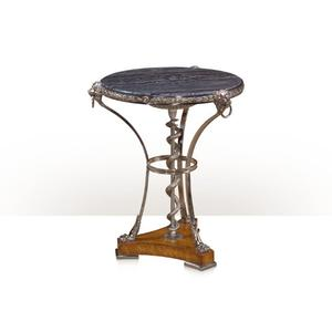 Theodore Alexander - A superb stainless steel lamp table - Variegated Marble & Stainless Steel