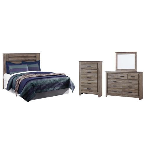Ashley - King/california King Panel Headboard With Mirrored Dresser and Chest
