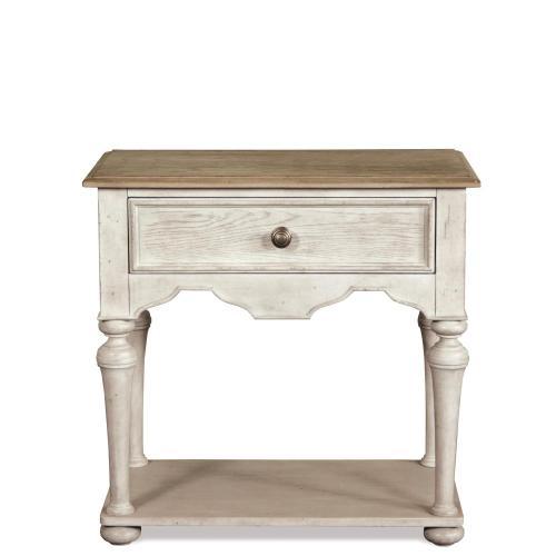 Riverside - Elizabeth - One Drawer Nightstand - Smokey White/antique Oak Finish