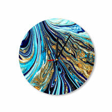 Royal Blue Gold Abstract Paint Round Square Acrylic Wall Clock