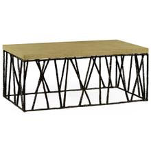 Bronze hammered coffee table with celadon top