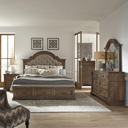 King Opt Storage Bed, Dresser & Mirror, Chest, Night Stand