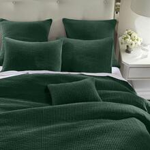 Stone Washed Cotton Velvet 3pc Quilt Set- 6 Colors (full/queen/king) - Full/queen / Emerald