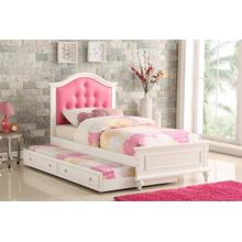 Harel Twin Bed, White-pink