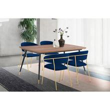 Messina and Nara Blue Velvet and Walnut 5 Piece Dining Set