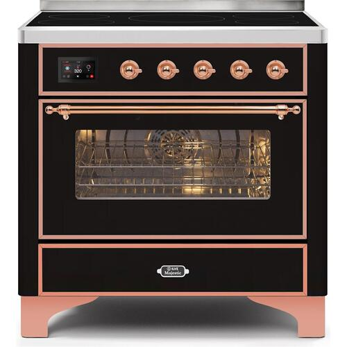 Ilve - Majestic II 36 Inch Electric Freestanding Range in Glossy Black with Copper Trim