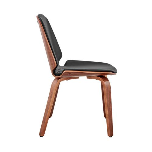 Armen Living - Brinley Black Faux Leather and Walnut Wood Dining Room Accent Chair