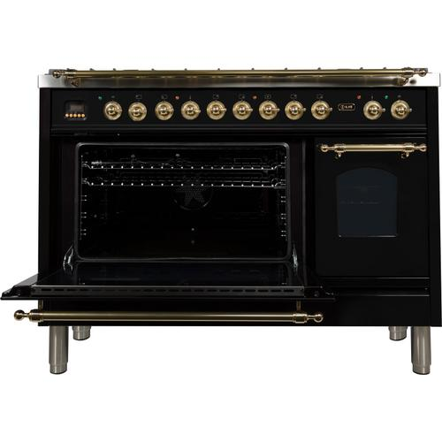 Nostalgie 48 Inch Dual Fuel Natural Gas Freestanding Range in Glossy Black with Brass Trim