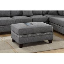 Iwan Cocktail Ottoman, Ash-black-cotton-blend