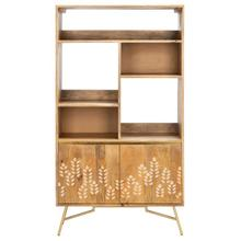 See Details - Kinley Printed Bookcase - Natural / Gold