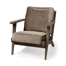 Olympus II Brown Velvet Covered Wooden Frame Accent Chair