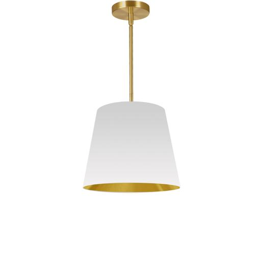 1lt Oversized Drum Pendant Small, Wh/gld Shade