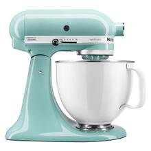 Artisan® Series Tilt-Head Stand Mixer with 5 Quart White Colorfast Finish Stainless Steel Bowl - Aqua Sky