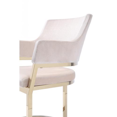 Modrest Tulsa Modern Cream Velvet & Gold Dining Chair
