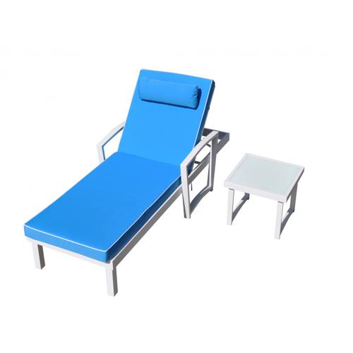Renava Tampa Outdoor Blue & White Sun Bed & End Table Set