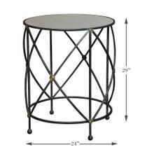 Drum & Fife Lamp Table, Aged Wht Marble