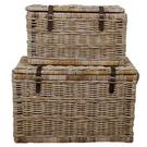 Rectangular Rattan Trunk with Strap Set of 2, Natural Gray Product Image
