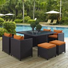 Inverse 9 Piece Outdoor Patio Dining Set in Espresso Orange