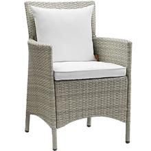 Conduit Outdoor Patio Wicker Rattan Dining Armchair in Light Gray White