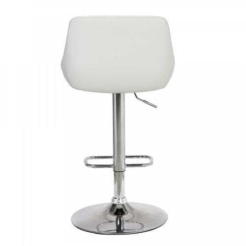 Armen Living - Anibal Contemporary Adjustable Barstool in Chrome Finish and White Faux Leather