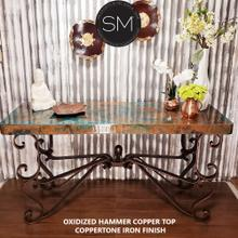 "Console Tables that You'll Love-Wrought iron base Hammer Copper top - 59"" x 19"" / Natural Copper / Dark Rust Brown"