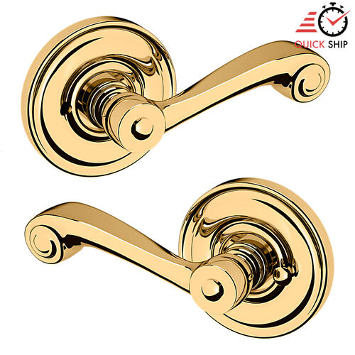 Baldwin - Lifetime Polished Brass 5103 Estate Lever with 5048 Rose