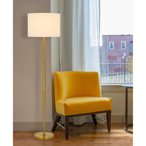 150W 3 way Sterling metal floor lamp with hardback drum shade