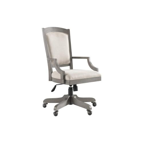 Upholstered Desk Chair - Gray Wash Finish