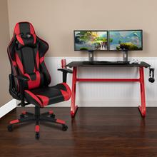 Red Gaming Desk and Red/Black Reclining Gaming Chair Set with Cup Holder and Headphone Hook