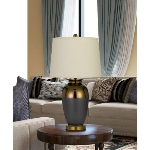 Cantanzaro Copper Glazed Ceramic Table Lamp With Hardback Fabric Shade