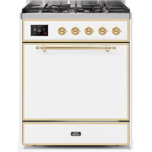 Majestic II 30 Inch Dual Fuel Natural Gas Freestanding Range in White with Brass Trim