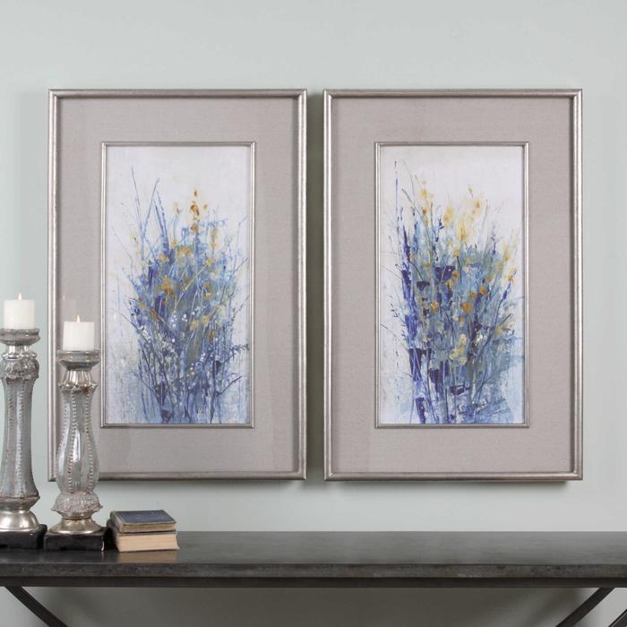 Uttermost - Indigo Florals Framed Prints, S/2