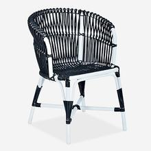 St. Martin Outdoor Round Back Occassional Chair - White/Black..