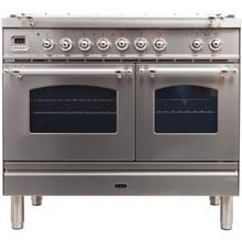 View Product - Nostalgie 40 Inch Dual Fuel Liquid Propane Freestanding Range in Stainless Steel with Chrome Trim