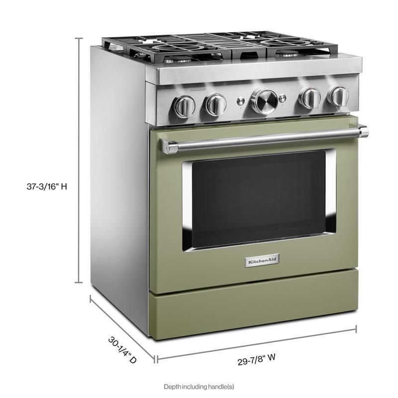 KitchenAid® 30'' Smart Commercial-Style Dual Fuel Range with 4 Burners - Avocado Cream